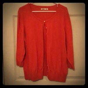 Old Navy orange 3/4 sleeve cardigan! Size XXL